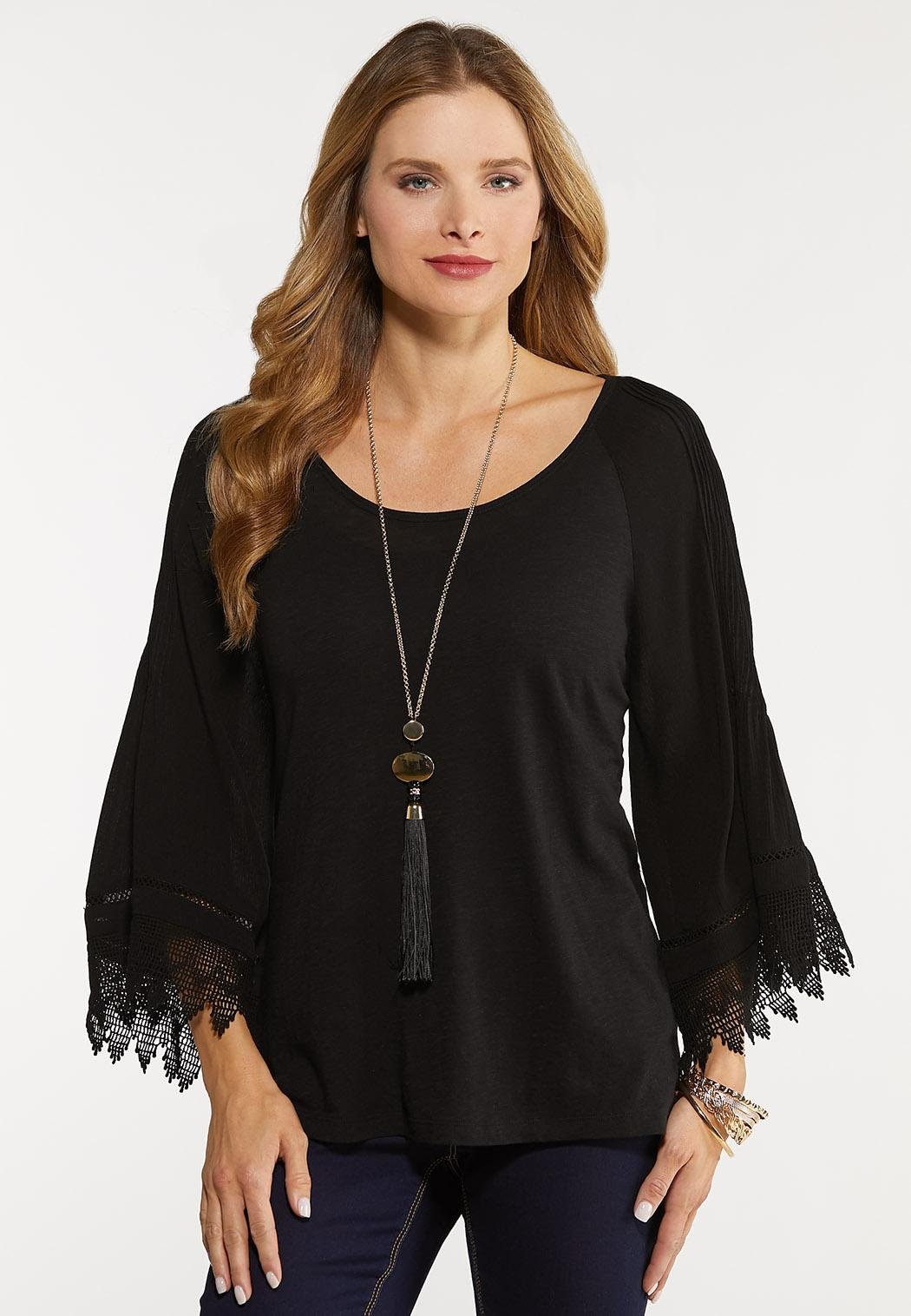Pleated Lace Sleeve Top