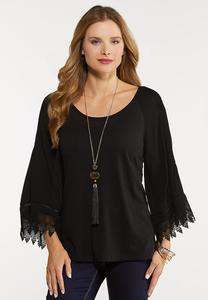 Plus Size Pleated Lace Sleeve Top