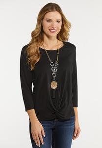 Plus Size Twist Front Skimmer Top
