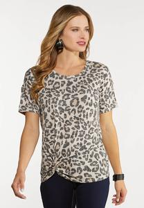 Plus Size Leopard Twist Top
