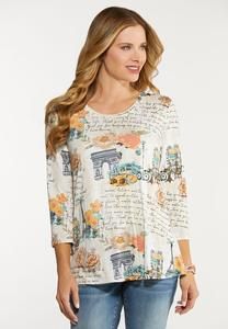 Plus Size Love Note In Paris Swing Top