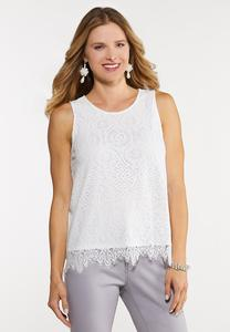 Plus Size Scalloped Lace Tank