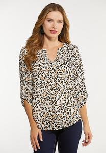 Plus Size Leopard Popover Top