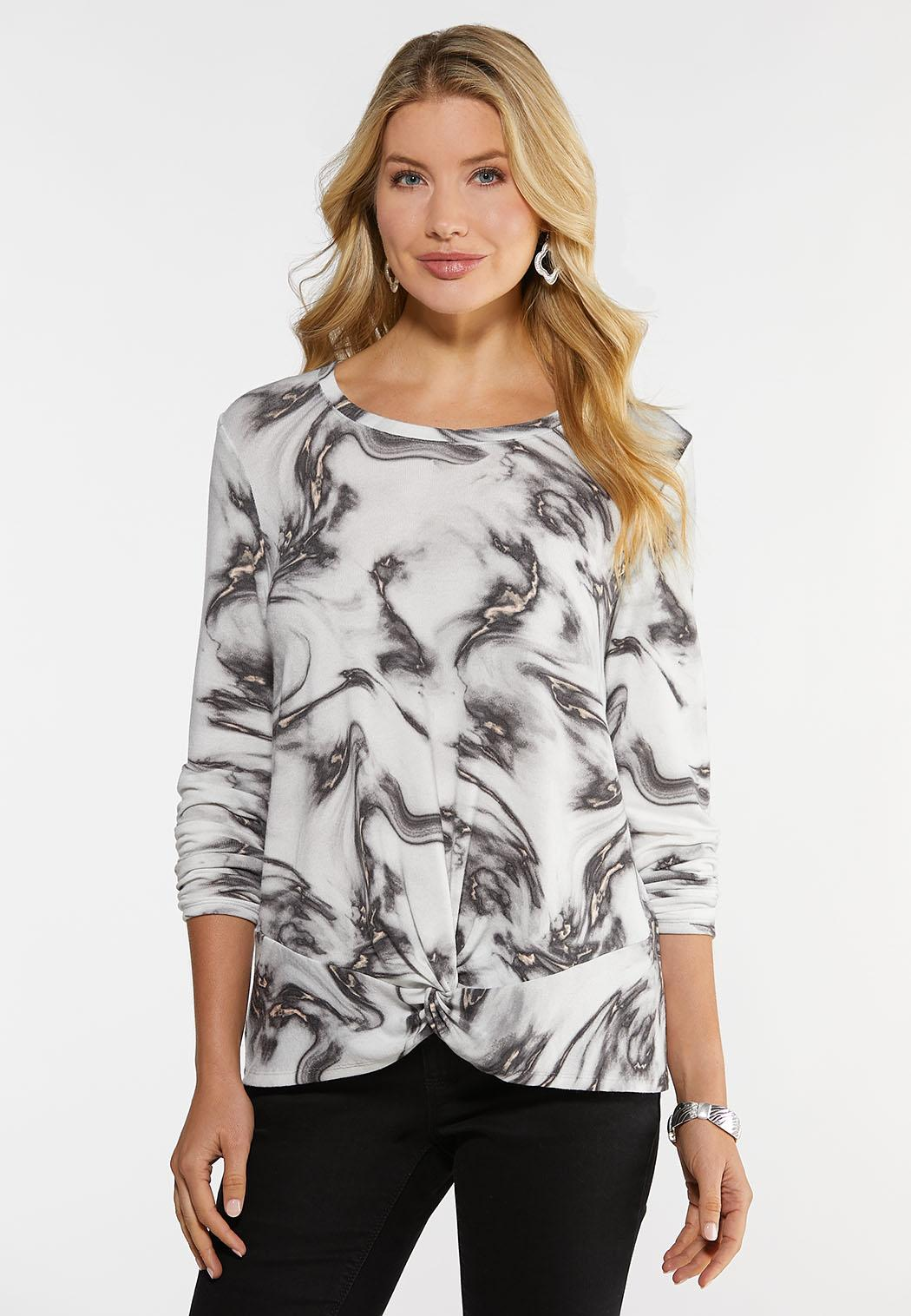 Plus Size Marbled Twist Front Top