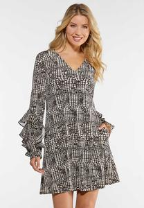 Triple Ruffled Sleeve Dress