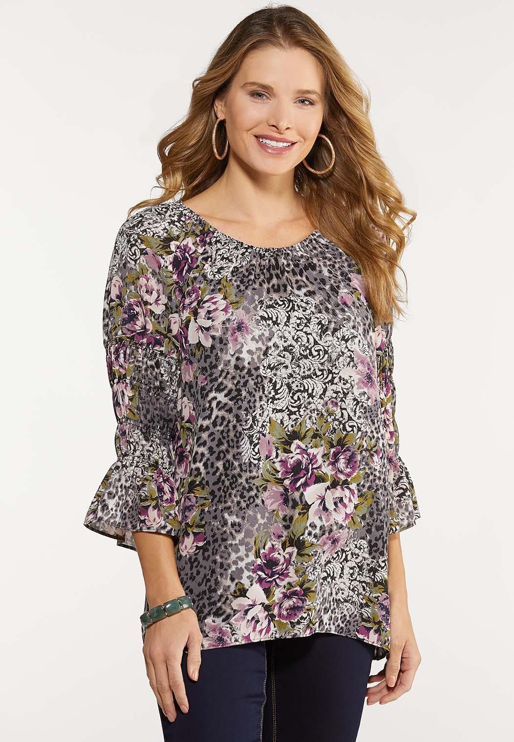 Plus Size Smocked Lavender Floral Top