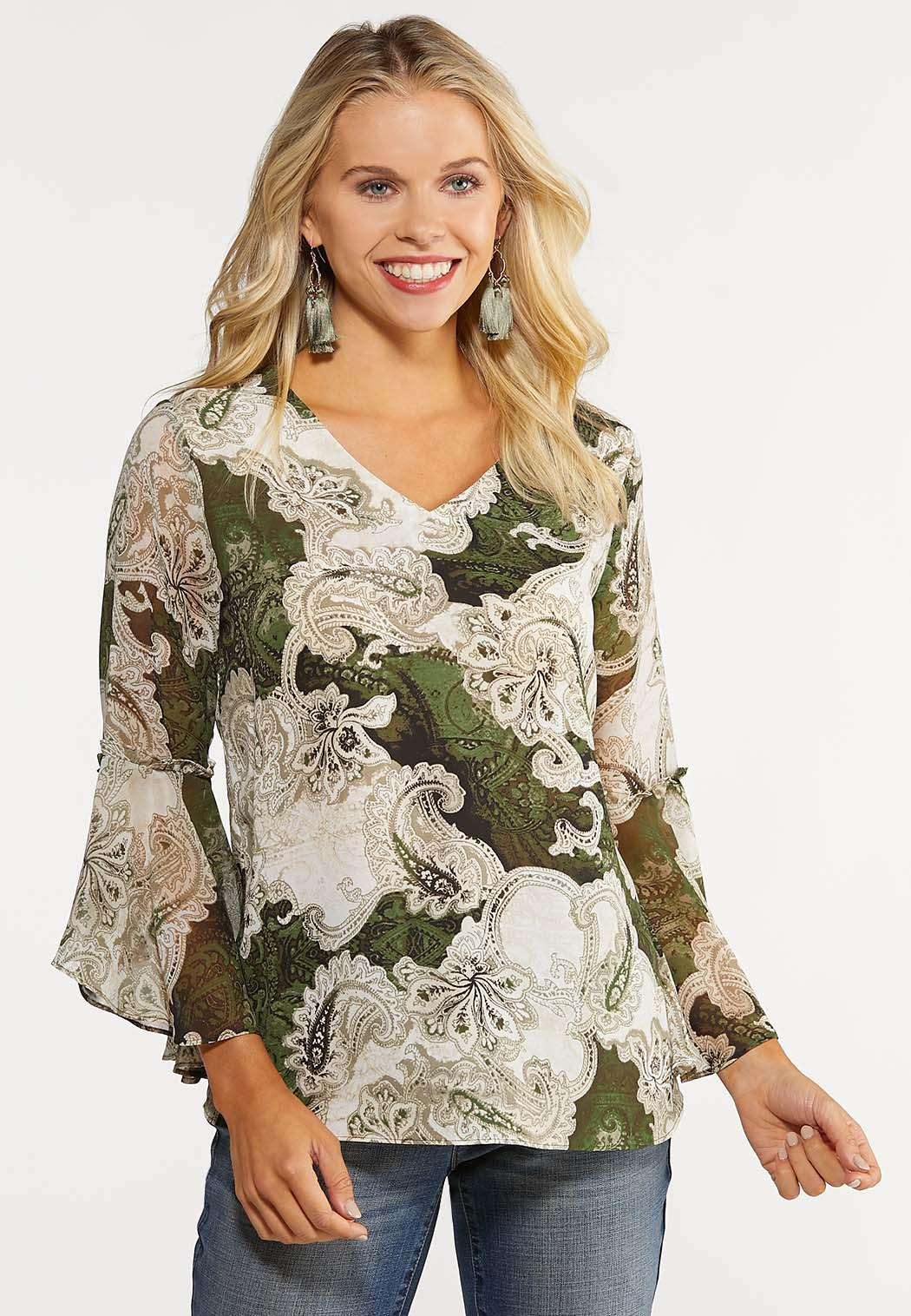 Plus Size Bell Sleeve Paisley Top