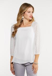 Dotted Square Neck Top