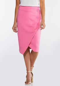 Plus Size Asymmetrical Button Pencil Skirt