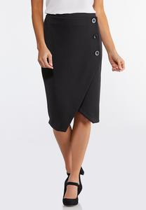 Plus Size Asymmetrical Button Pencil Skirt