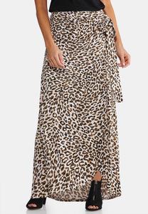 Plus Size Leopard Faux Wrap Maxi Skirt