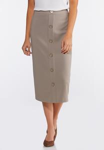 Button Down Pencil Midi Skirt