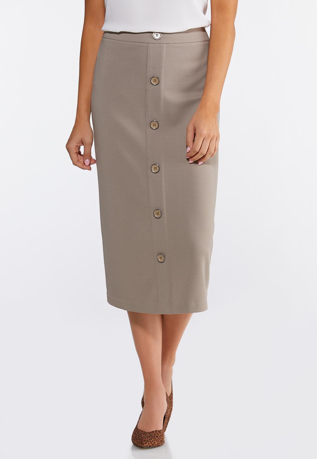Plus Size Button Down Pencil Skirt