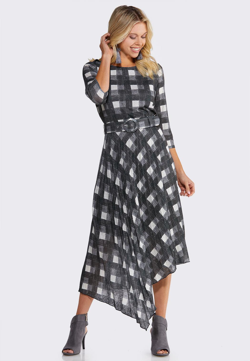 Plus Size Plaid Belted Dress Midi Cato Fashions