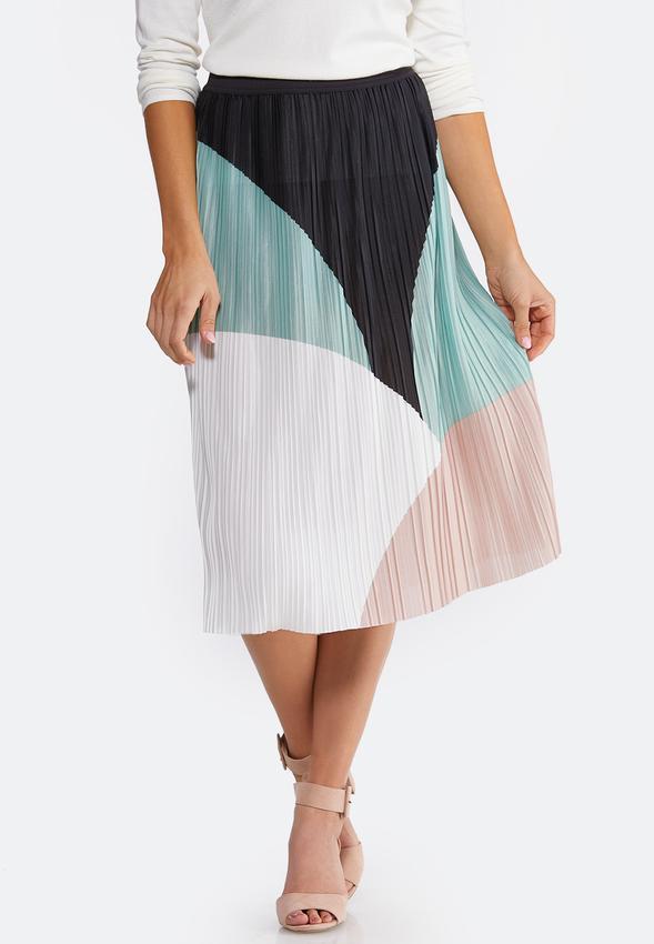 Plus Size Colorblock Pleated Midi Skirt