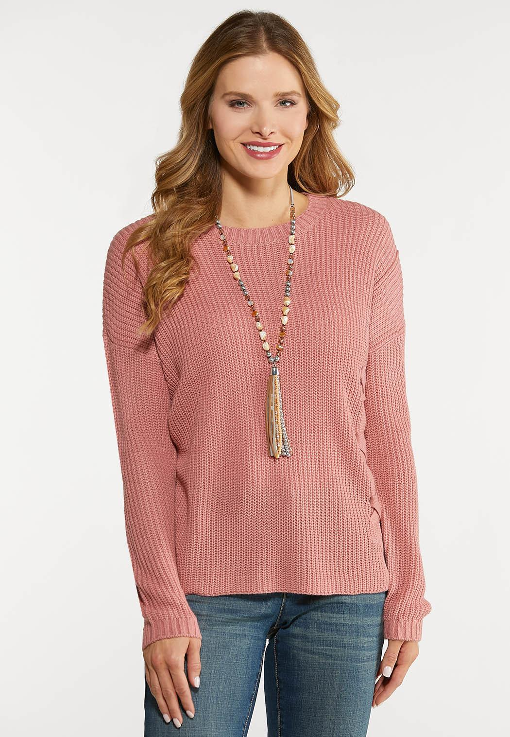 Plus Size Rose Lace Up Sweater
