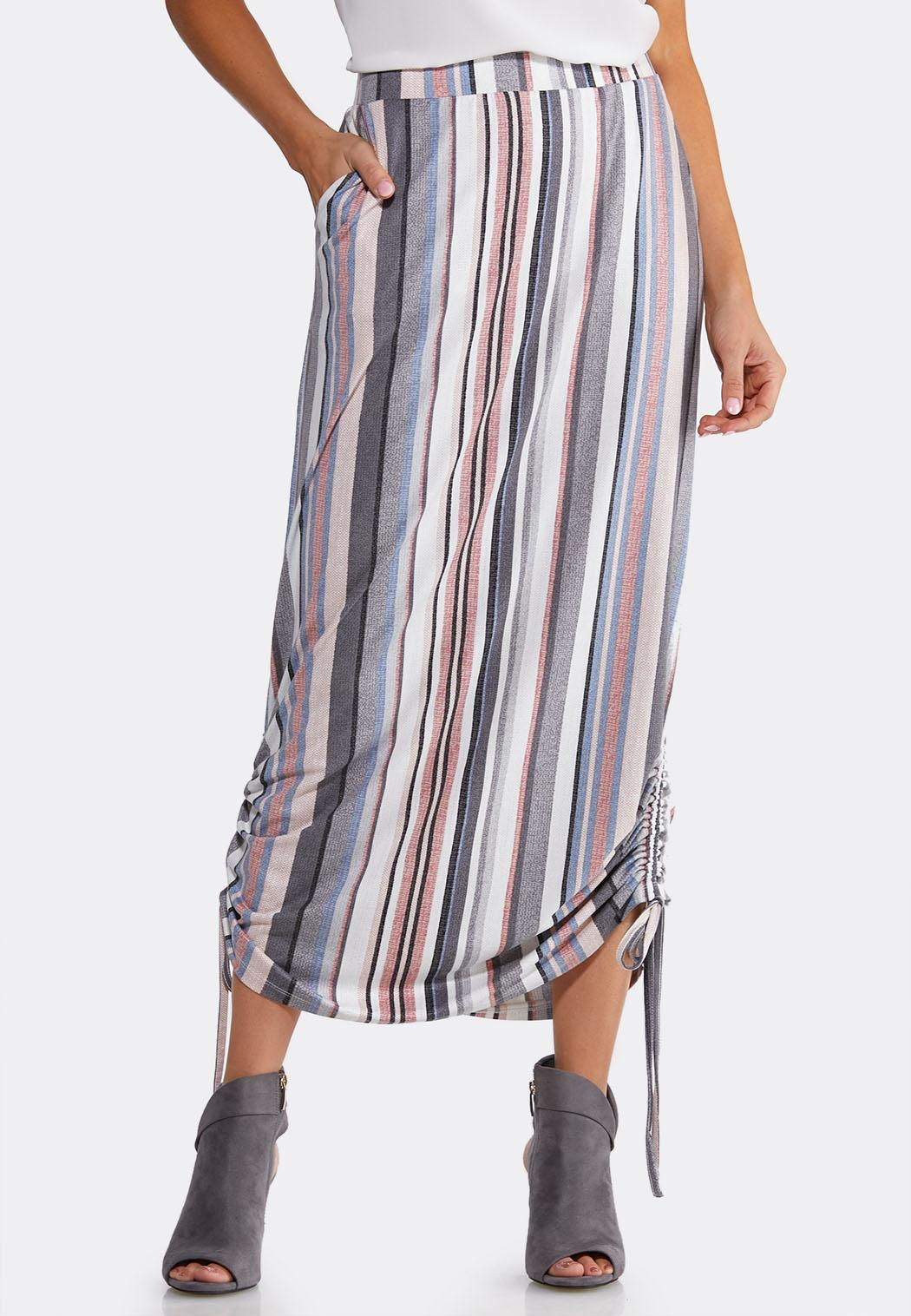 Stripe Ruched Skirt