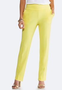 Petite Yellow Scalloped Pants