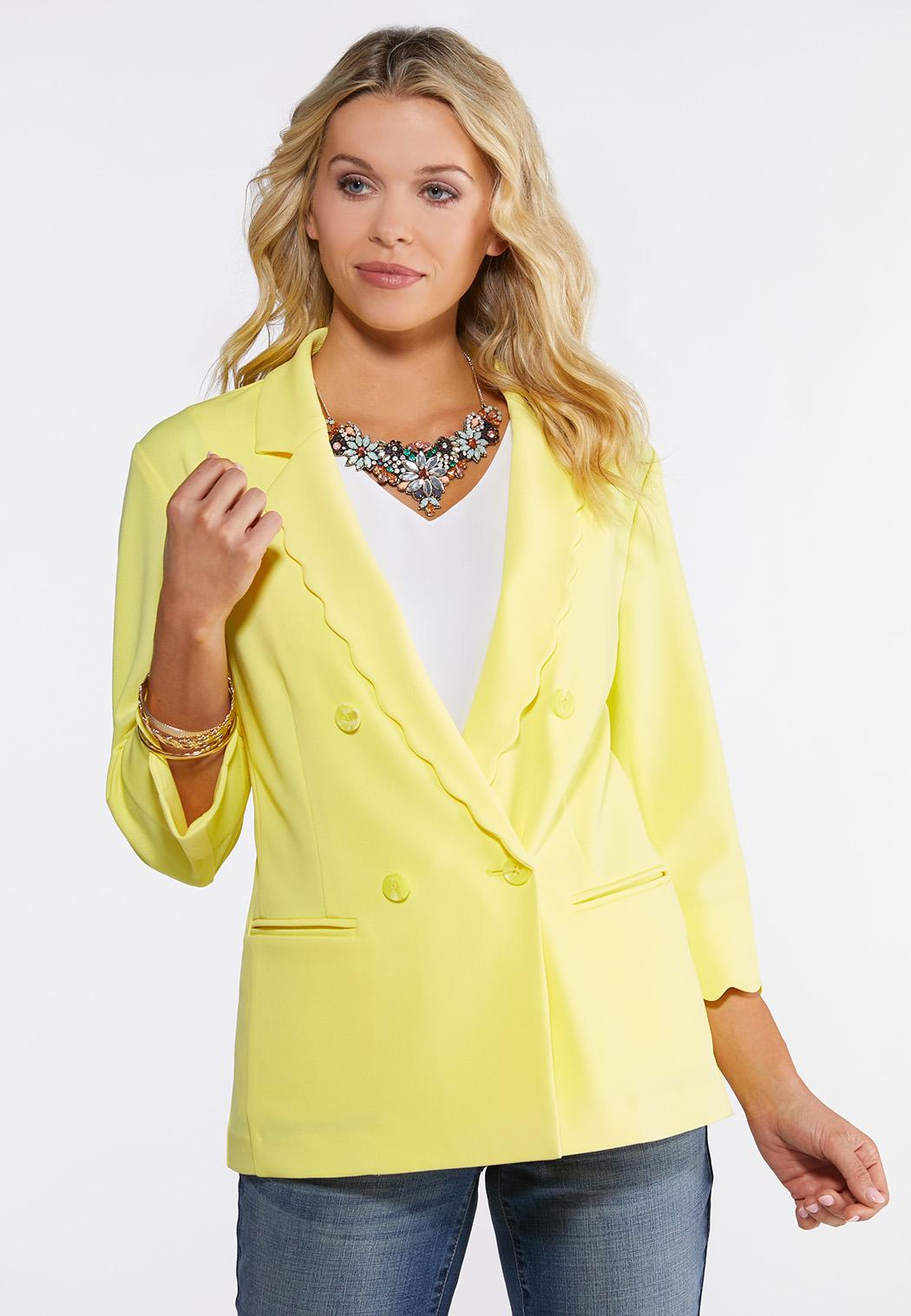 Plus Size Yellow Scalloped Blazer
