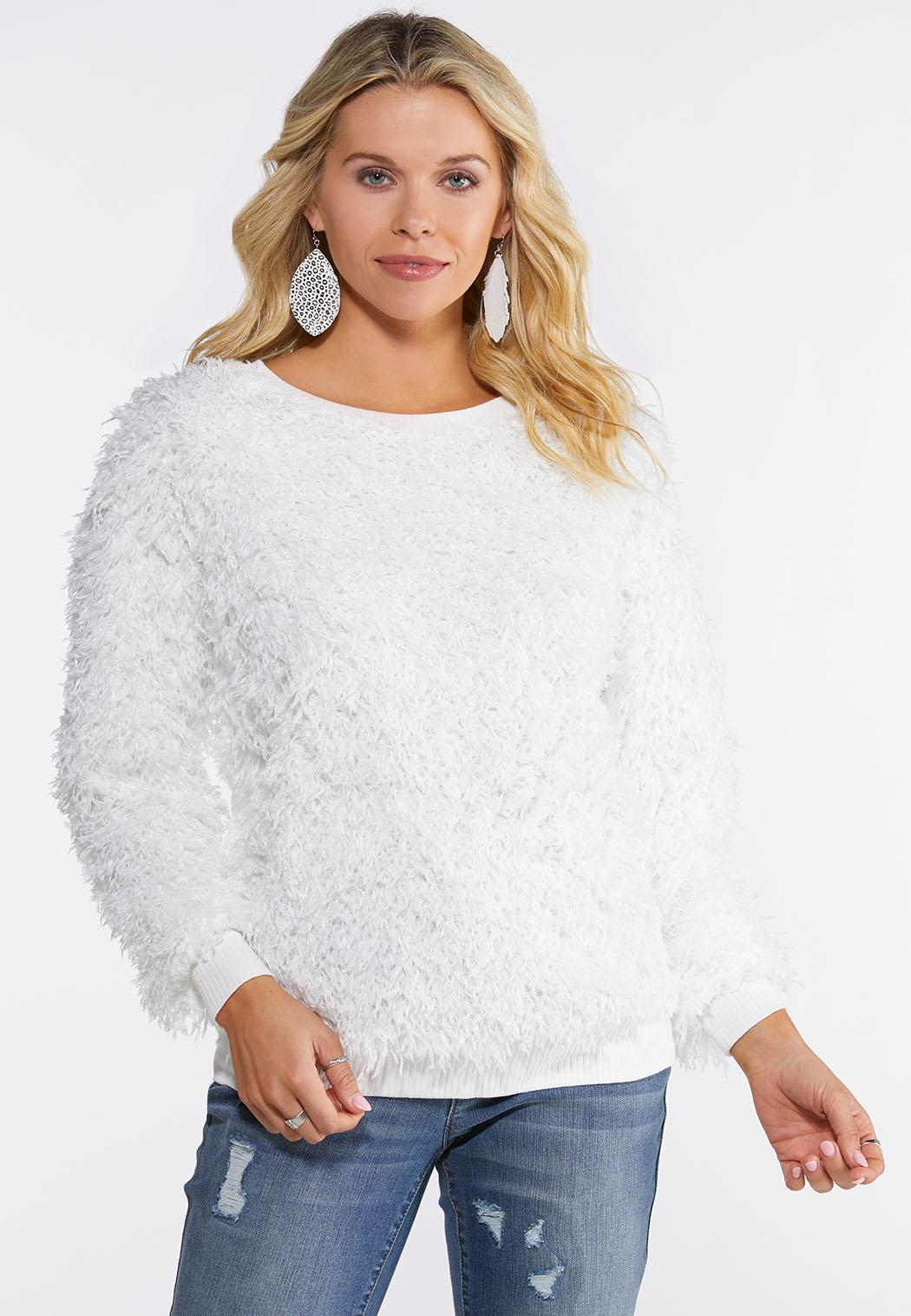 Plus Size Fluffy Ivory Scoop Neck Top