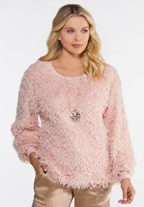 Plus Size Fluffy Pink Scoop Neck Top