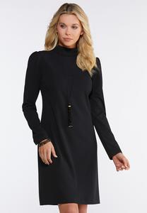 Plus Size Black Puff Shoulder Dress