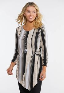 Plus Size Stripe Pointed Hem Top