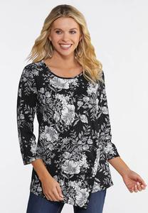 Plus Size Ribbed Floral Print Top