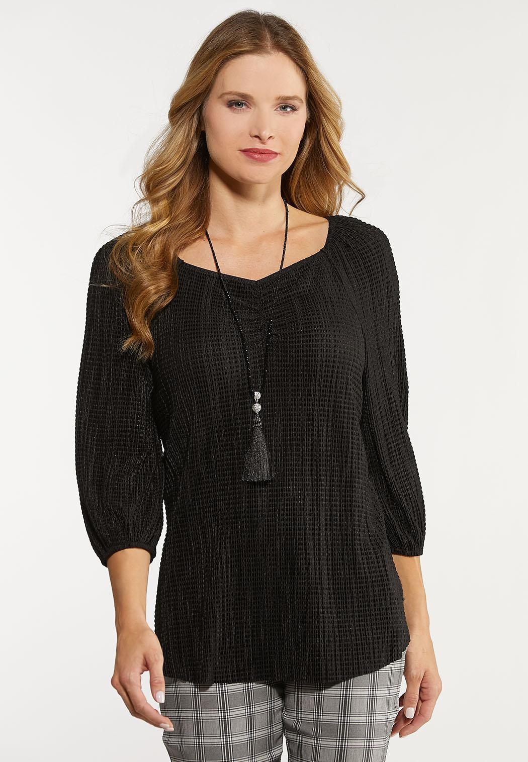 Plus Size Stretchy Textured Top