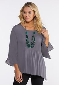 Plus Size Pleated Asymmetrical Top