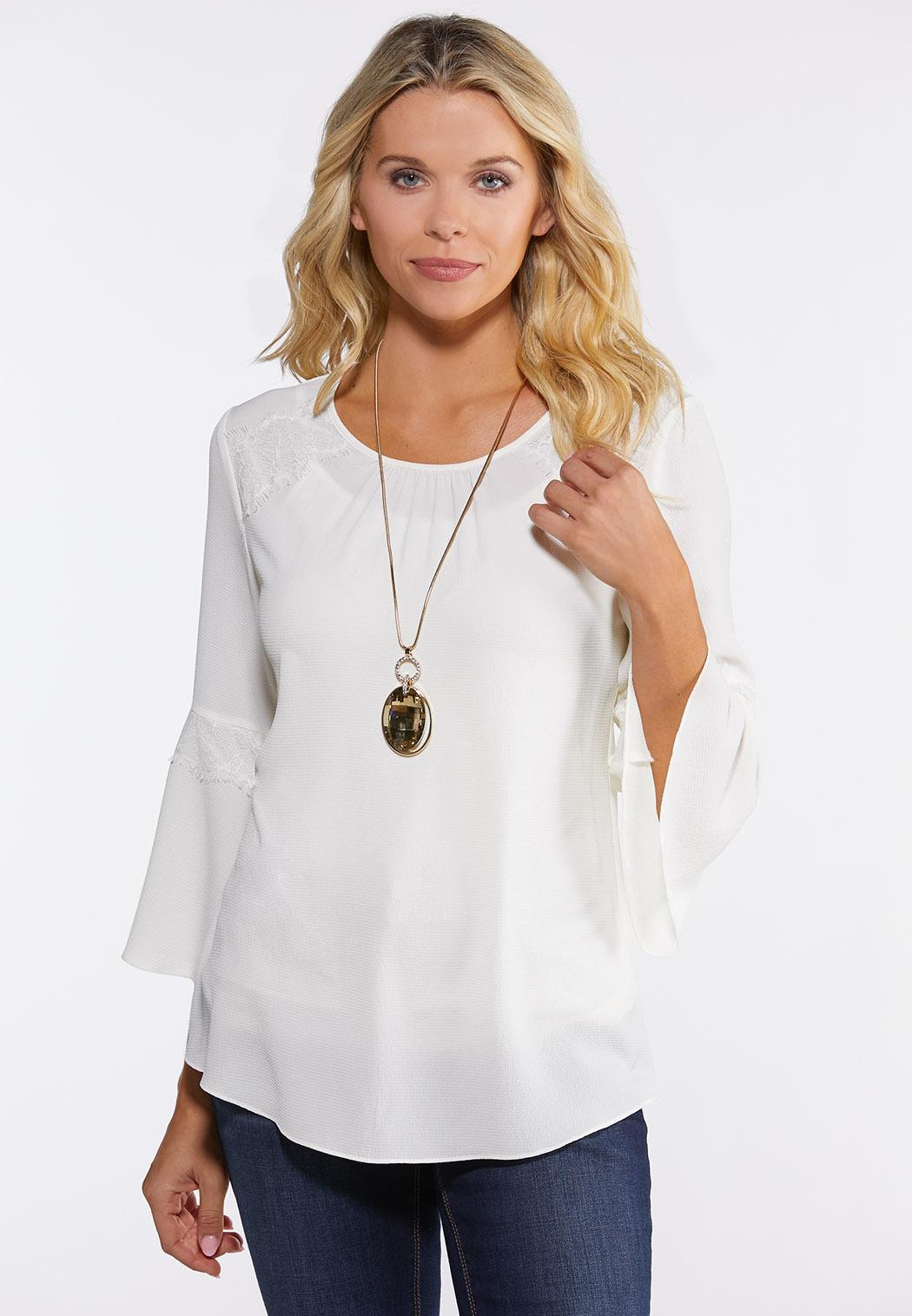 Plus Size Ivory Lace Trim Top