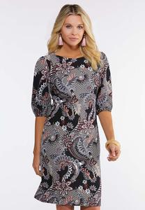 Paisley Puff Sleeve Dress