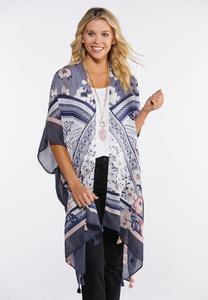 Tribal Floral Tasseled Kimono