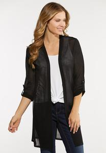 Plus Size Sheer Cardigan Sweater