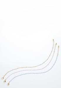 Triple Bead Anklet Set
