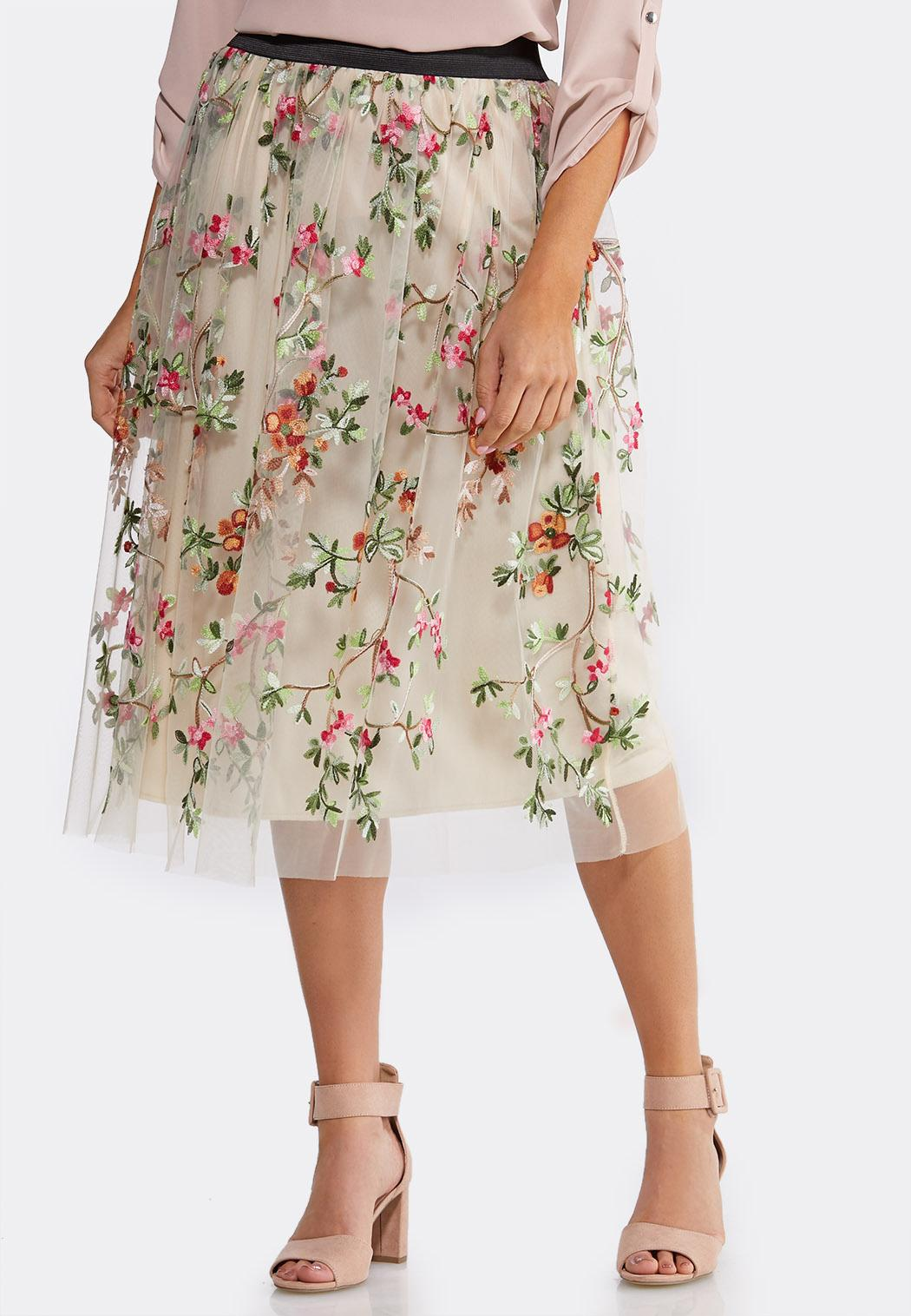 Plus Size Embroidered Floral Skirt