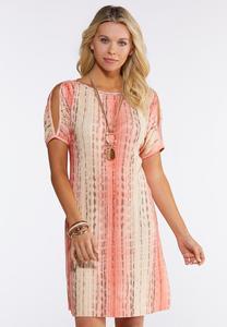 Plus Size Pleated Cold Shoulder Dress