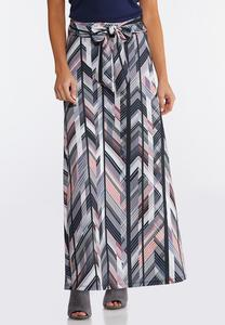 Tied Waist Chevron Skirt