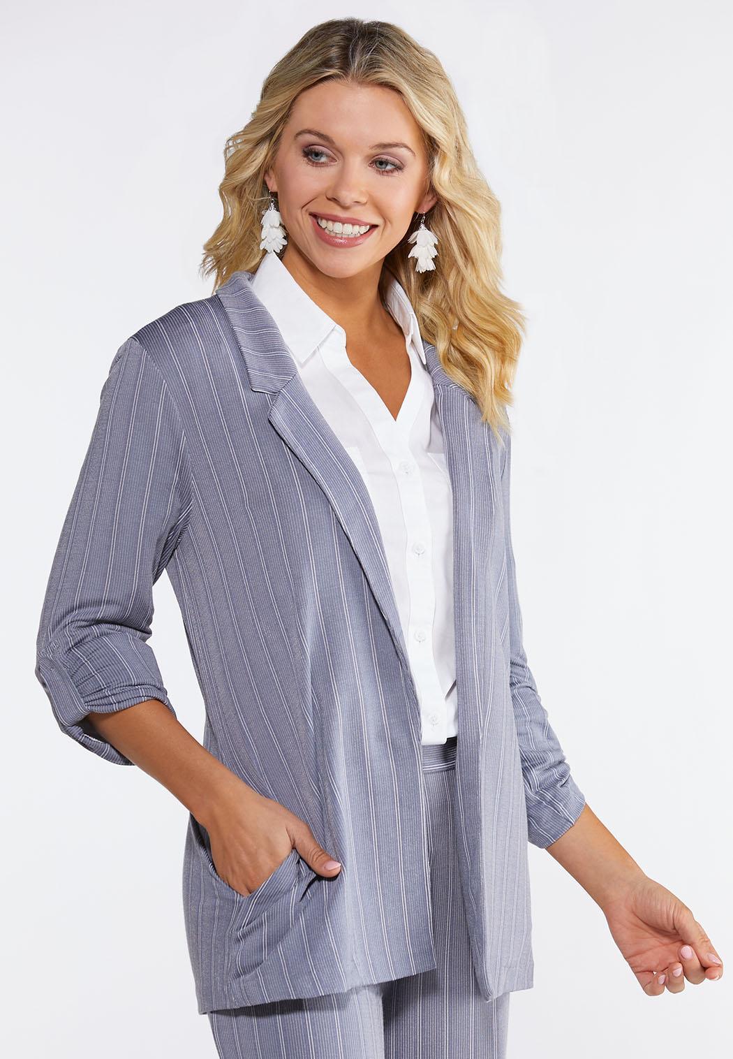 Plus Size Stripe Knit Blazer
