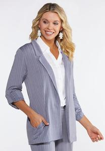 Plus Size Stripe Knit Blazer