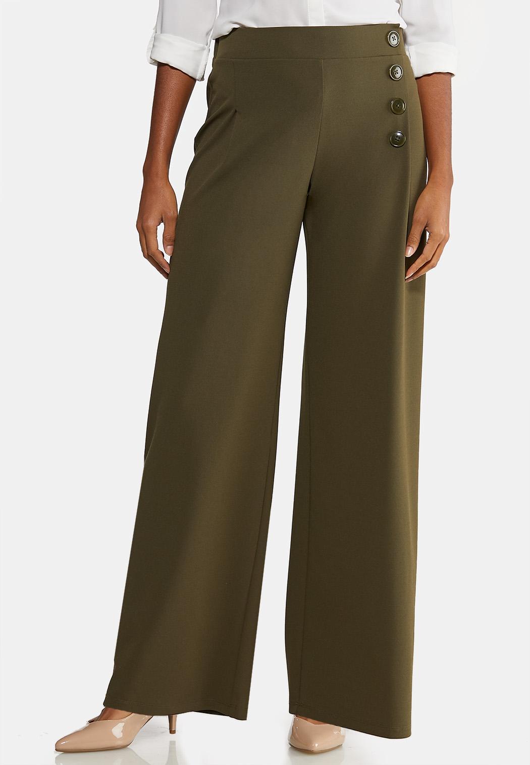 Petite Wide Leg Button Pants