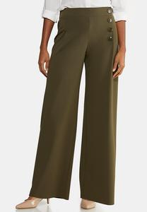 Petite Wide Leg Button Pants