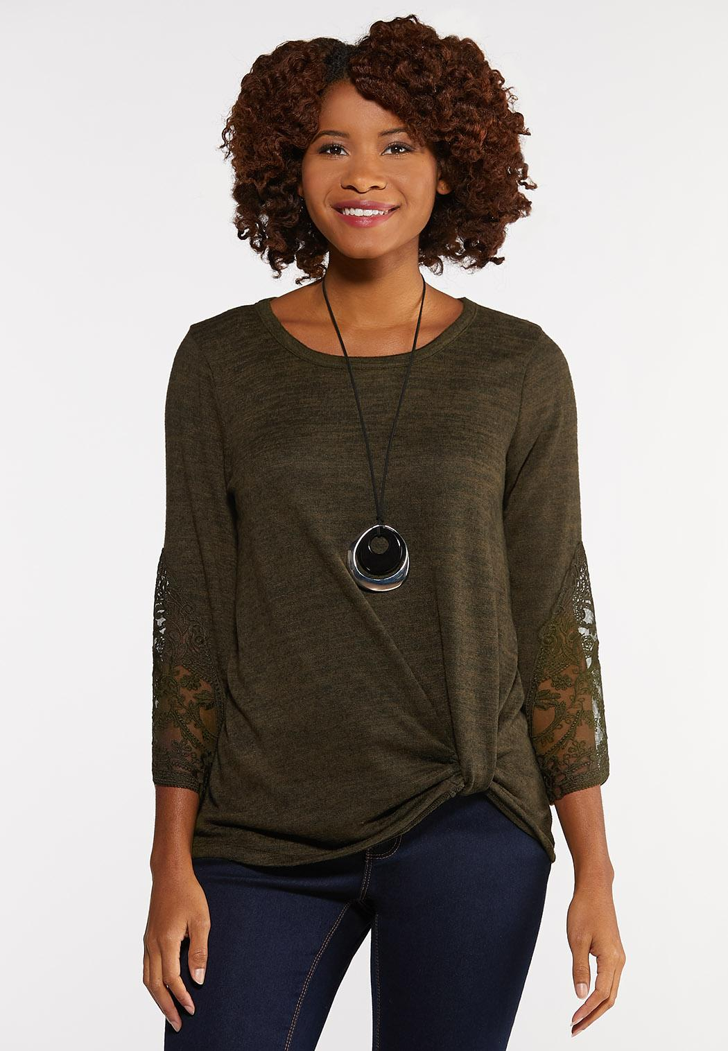 Green Lace Sleeve Top