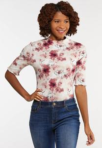 Plus Size Floral Mock Neck Bodysuit