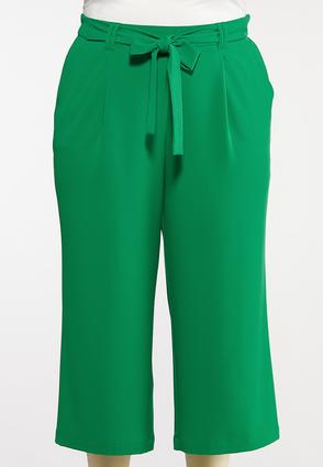 Plus Size Green Cropped Pants
