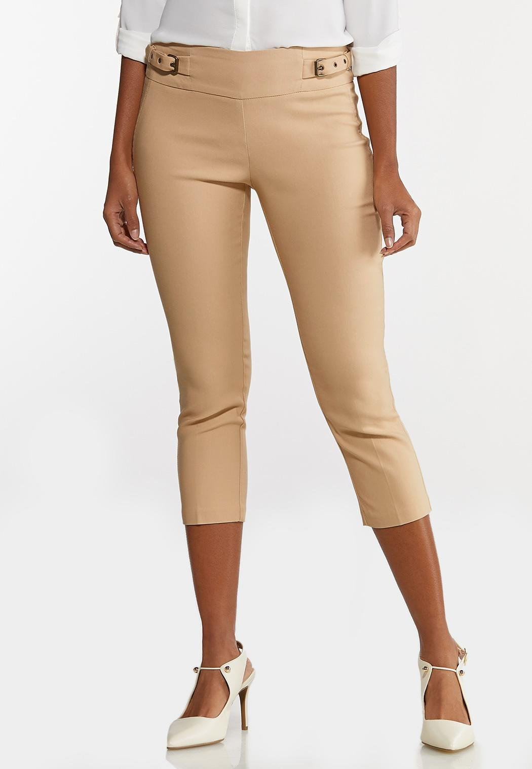 Cropped Belted Bengaline Pants