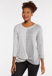 Plus Size Mixed Stripe Top