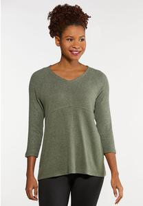 Plus Size Brushed Green Sweater