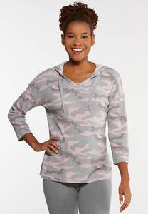 Plus Size Waffle Camo Top