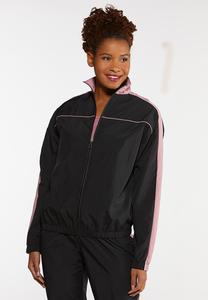 Plus Size Sporty Stripe Jacket